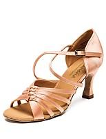 Недорогие -Жен. Обувь для латины Полиуретан Кроссовки Толстая каблук Танцевальная обувь Коричневый / Красный / Телесный