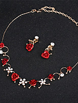 cheap -Women's Synthetic Diamond Single Strand Jewelry Set - Love Elegant Include Statement Necklace Red For Wedding / Party