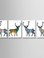 cheap -Print Stretched Canvas Prints - Animals / Cartoon Modern