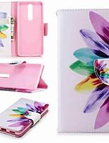 preiswerte -Hülle Für Nokia Nokia 5.1 / Nokia 3.1 Geldbeutel / Kreditkartenfächer / mit Halterung Ganzkörper-Gehäuse Blume Hart PU-Leder für Nokia 8 / Nokia 6 / Nokia 6 2018