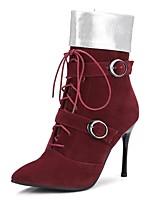 Недорогие -Жен. Обувь Микроволокно Наступила зима Модная обувь Ботинки На шпильке Заостренный носок Ботинки Бант Черный / Винный