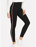 cheap -Women's Daily / Going out Sporty Legging - Striped Mid Waist