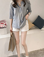 cheap -Women's Work Basic Slim Shirt - Striped Shirt Collar / Summer