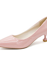 cheap -Women's Shoes Patent Leather Summer Basic Pump Heels Kitten Heel Pointed Toe Beige / Blue / Pink