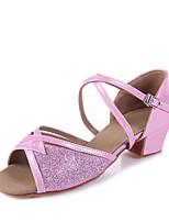 abordables -Fille Chaussures Latines Faux Cuir Sandale Paillette Talon épais Personnalisables Chaussures de danse Argent / Bleu / Rose