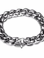 cheap -Men's Braided Bracelet - Stainless Steel, Titanium Steel Flower Trendy, Casual / Sporty, Rock Bracelet Silver For Street / Holiday