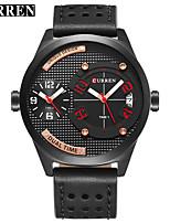 abordables -CURREN Hombre Reloj de Vestir / Reloj Pulsera Chino Calendario / Resistente al Agua / Nuevo diseño Cuero Auténtico Banda Casual / Moda Negro / Marrón / Acero Inoxidable