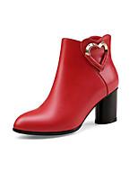 Недорогие -Жен. Обувь Наппа Leather Наступила зима Удобная обувь / Модная обувь Ботинки На толстом каблуке Черный / Красный