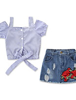 cheap -Baby Girls' Striped / Floral Short Sleeve Clothing Set
