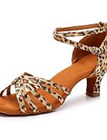 cheap -Women's Latin Shoes Satin Heel Cuban Heel Customizable Dance Shoes Leopard