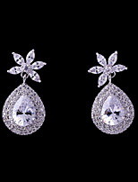 cheap -Women's Cubic Zirconia Stylish Stud Earrings - Drop Fashion, Elegant White For Wedding / Party