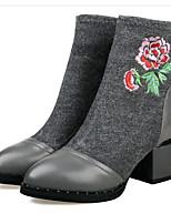 baratos -Mulheres Sapatos Pele Napa Outono & inverno Conforto / Botas da Moda Botas Salto Robusto Preto / Cinzento