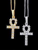 cheap -Men's Stylish / Cuban Link Choker Necklace / Pendant Necklace / Necklace - Keys, Faith Dangling Style, Hip-Hop, Ancient Egypt Gold, Black, Silver 60 cm Necklace 1pc For Street, Club / Long Necklace