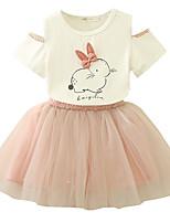 baratos -Infantil / Bébé Para Meninas Rabbit Floral Manga Curta Vestido