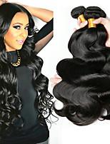 billige -4 pakker malaysisk hår Krop Bølge Menneskehår Menneskehår, Bølget / Kosmetiktilbehør / Udvidelse 8-28 inch Menneskehår Vævninger Maskinproduceret Klassisk / Naturlig / Bedste kvalitet Sort Naturlig