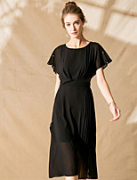 cheap -SHIHUATANG Women's Street chic A Line / Little Black / Chiffon Dress - Solid Colored Ruched