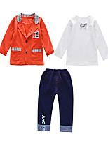 Недорогие -Дети Мальчики Однотонный Длинный рукав Набор одежды