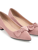 cheap -Women's Shoes Suede Spring Comfort Heels Chunky Heel White / Black / Pink
