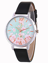 cheap -Women's Wrist Watch Chinese Casual Watch / Lovely PU Band Flower / Colorful Black / White / Blue