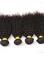 billiga -4 paket Indiskt hår / Mongoliskt hår Kinky Curly Obehandlat / Äkta hår Presenter / cosplay Suits / Human Hår vävar 8-28 tum Hårförlängning av äkta hår Mjuk / Heta Försäljning / Tjock Naurlig färg