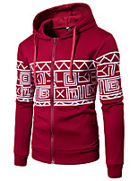 cheap -Men's Active / Basic Hoodie - Geometric / Color Block, Print