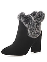 cheap -Women's Shoes Suede Fall & Winter Combat Boots Boots Chunky Heel Round Toe Booties / Ankle Boots Feather Black / Gray / Almond
