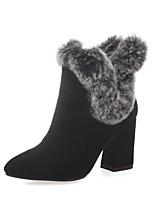 abordables -Femme Chaussures Daim Automne hiver boîtes de Combat Bottes Talon Bottier Bout rond Bottine / Demi Botte Plume Noir / Gris / Amande