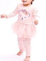 Недорогие -малыш Девочки Однотонный Длинный рукав Комбинезон
