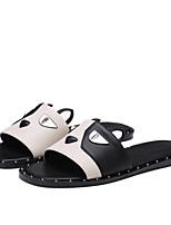 cheap -Women's Shoes Nappa Leather Summer Comfort Slippers & Flip-Flops Flat Heel Open Toe Beading Black