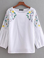 cheap -Women's Basic Cotton T-shirt - Floral Embroidered