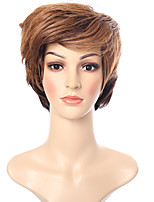 cheap -Synthetic Wig Straight Blonde Short Bob Synthetic Hair 6 inch Women / African American Wig / With Bangs Blonde Wig Women's Short Capless Black / Medium Auburn