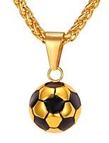 baratos -Homens Corda Colares com Pendentes - Aço Inoxidável Bola Fashion Dourado, Prata 55 cm Colar 1pç Para Presente, Diário