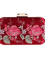 cheap -Women's Bags Polyester / Alloy Evening Bag Embroidery / Flower White / Black / Red