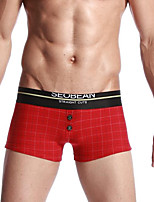 cheap -Men's Boxers Underwear Plaid Low Waist