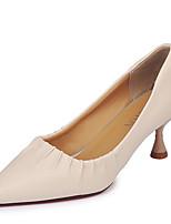 Недорогие -Жен. Обувь Полиуретан Лето Туфли лодочки Обувь на каблуках На шпильке Заостренный носок Черный / Бежевый / Пурпурный