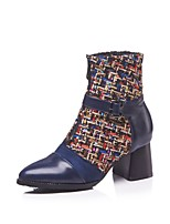 cheap -Women's Shoes PU(Polyurethane) Fall & Winter Fashion Boots Boots Chunky Heel Booties / Ankle Boots Black / Blue