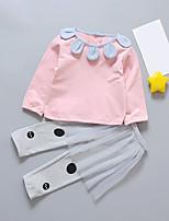 Недорогие -Дети Девочки Горошек Длинный рукав Набор одежды