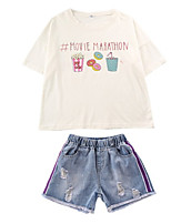 cheap -Toddler Girls' Basic Solid Colored Short Sleeve Clothing Set