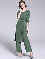abordables -Mujer Vintage / Chic de Calle Conjunto - Un Color Pantalón