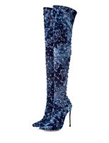 cheap -Women's Shoes Suede / Denim Fall & Winter Fashion Boots Boots Stiletto Heel Pointed Toe Knee High Boots Dark Blue
