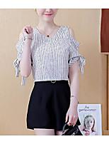 Недорогие -Жен. С кисточками Рубашка Винтаж Однотонный / Полоски Черное и белое