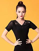 cheap -Ballroom Dance Tops Women's Performance Ice Silk Lace / Ruching Short Sleeve Top