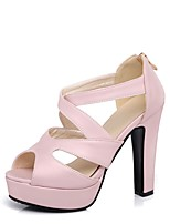 cheap -Women's Shoes PU(Polyurethane) Spring & Summer Comfort Heels Chunky Heel Silver / Red / Pink