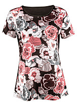 cheap -women's t-shirt - floral round neck