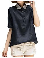 economico -T-shirt Per donna Tinta unita Colletto alla coreana