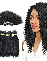 economico -Malese Kinky Curly Regali / Abiti Cosplay / Accessori per capelli 4 pacchi 8-28 pollice Tessiture capelli umani Lustro / vendita calda / Molto spesso Nero Naturale Estensioni dei capelli umani Per