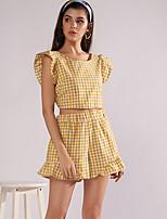 cheap -Women's Basic Blouse - Plaid, Print Pant