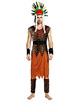 cheap -Primitive Costume Men's Halloween / Carnival / Children's Day Festival / Holiday Halloween Costumes Brown Solid Colored / Polka Dot / Halloween Halloween