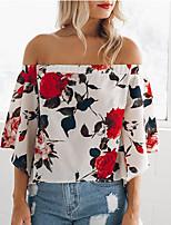 Недорогие -Жен. Блуза С открытыми плечами Цветочный принт