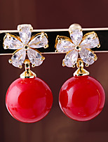 cheap -Women's Cubic Zirconia Stylish Clip Earrings - Flower, Ball Fashion Red For Wedding / Engagement